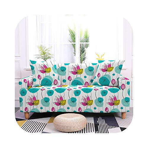 2021 Nordic Style Flower Sofa Cover Tight Wrap Sofa Towel Elastic Stretch Sofa Cover for Living Room 1/2/3/4 Seat Slipcovers-SF015-6-2- Seater 145-185cm