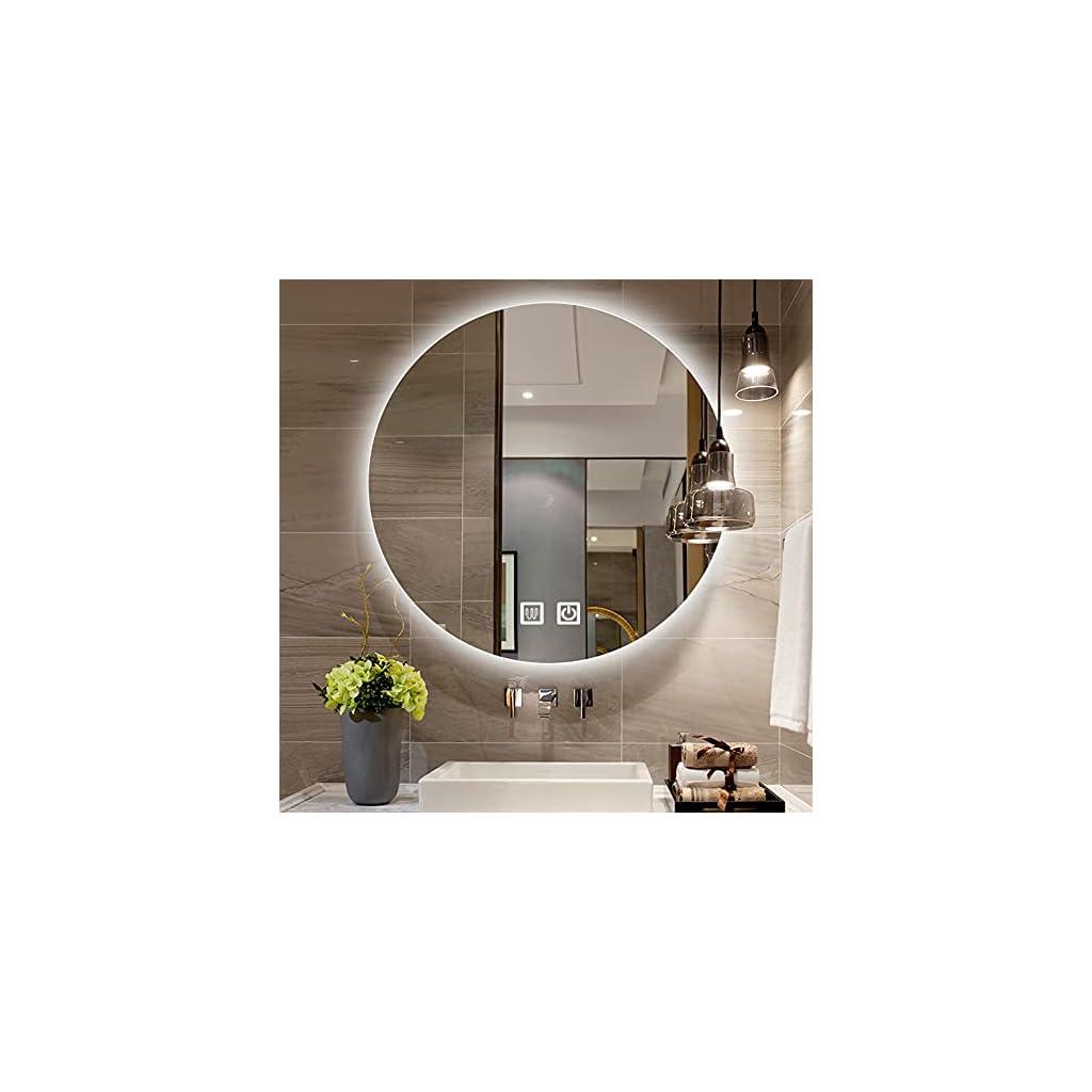 XLLLL Miroir Salle Bain Ronds avec Éclairage Intégré,Miroirs Cosmétiques Muraux LED avec Anti-Buée,Contrôle Tactile…