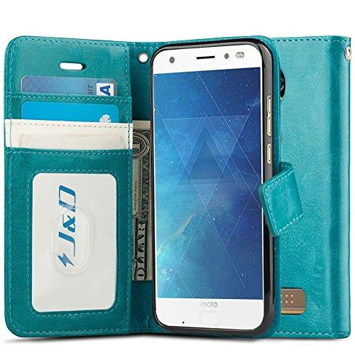 J&D Case Compatible for Moto Z2 Force Edition/Moto Z2 Force Case, Wallet Stand Slim Fit Heavy Duty Shock Resistant Flip Cover Wallet Case for Motorola Moto Z2 Force Edition Wallet, Aqua