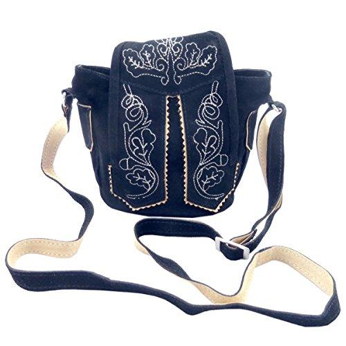 Trachtentasche Dirndltasche kleine Lederhosen-Tasche Umhängetasche Wild- Leder dunkel-blau