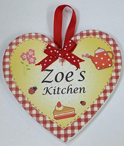 Zoe nommé personnalisé en forme de cœur Kitchen Plaque magnétique par Sterling effectz