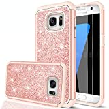 LeYi Compatible with Galaxy S7 Case with Glass Screen Protector [2 Pack], Glitter Bling Girls Women [PC Silicone Leather] Dual Layer Heavy Duty Phone Case for Samsung Galaxy S7 (2016) TP Rose Gold
