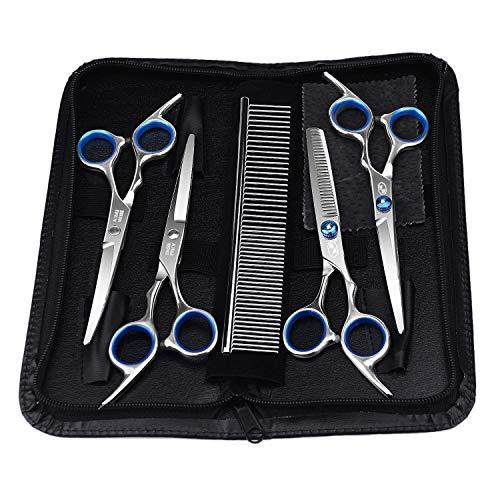 Hundescheren Set, Color You Hunde Haarschere mit Rundspitze mit Effilierschere zur Fellpflege 5 in 1 für alle Hunde Katze Schneiden und Grooming