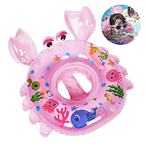 Yisscen Flotador flotador para bebés, cangrejos, flotador flotador, flotador de flotación, flotador de piscina, juguete para la piscina, adecuado para bebés de 6 a 48 meses (rosa)