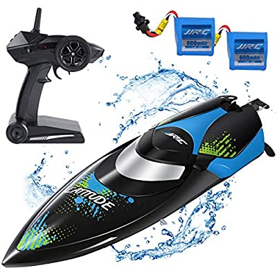 SGILE Remote Control Boat, RC Racing Boat Toy for Pool & Outdoor Use, High-Speed RC Boats with 2 Batteries for Adults Kids