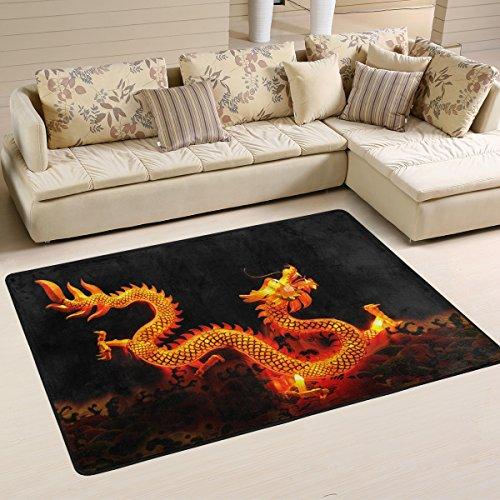 Coosun Dragon Chinois Lanterne Zone Tapis Moquette antidérapant Tapis de sol Paillasson pour salon Chambre à coucher 91.4 x 61 cm, Tissu, multicolore, 36 x 24 inch