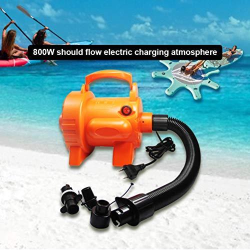 Eastleader Bomba de aire eléctrica de 800 W, cuatro esquinas planas para una inflación eficaz y estable con tres boquillas de aire y adaptador de alimentación para piscinas, barcos, sofás, SUP