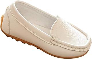 dd7e1ceed8c8c Tenthree Enfant Enfiler Leather Chaussure - Garçon Fille Mocassins Plates  Doux Confort Cuir Tout-Petit