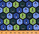 Cotton Minecraft Tools Pickaxes Axes Shovels Swords Hexagons Pattern Video Games Gaming Kids Blue Cotton Fabric Print by The Yard (D302.42)