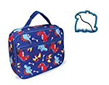 Kids Dinosaur Lunch Box Insulated Dino Lunch Bag Lunchbox for Boy or Girl Toddlers Preschool Kindergarten Back to School Supplies with Matching Sandwich Cutter by Keeli Kids in Blue Dino Dinosaurs