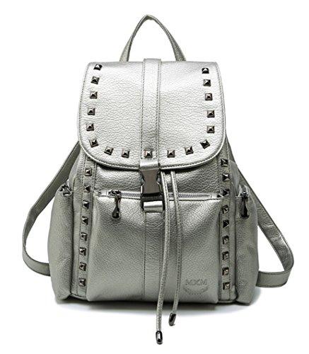 Himaleyaz Nueva Personalidad Rivet Mochila Lady with Lid Side Bag PU Leather Drawstring Backpack para Escuela Plata