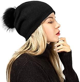 Flowomen Slouchy Beanie Hat with Pompom Ball Raccoon Fur Soft Knit Warm Cap