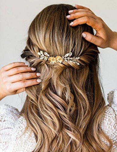 Kercisbeauty Handgefertigte Goldblume Kristall Haar Kamm Rutsche für Hochzeit Braut Brautjungfern, Prom Zubehör