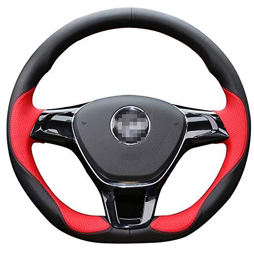 FANGPAN Lenkradabdeckung,Für Volkswagen Golf 7 Mk7 Neuer Polo Passat B8 Tiguan Touran, Up Black Red Leder Autolenkradabdeckung
