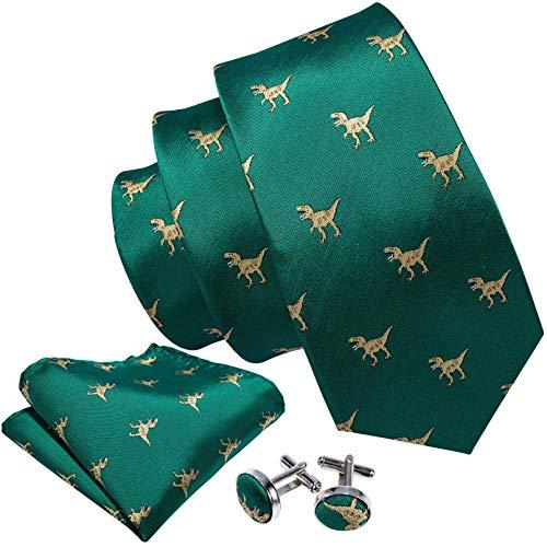 GPZFLGYN Dinosaurio hombres corbatas verde oro seda hombres boda corbata pañuelo caja de regalo conjunto corbatas masculinas para hombres regalo Gravat