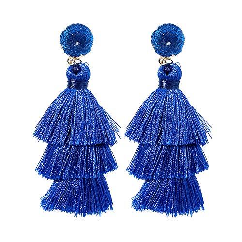 Blue Tassel Earrings for Women - Colorful Layered Tassle Dangle Drop Earrings