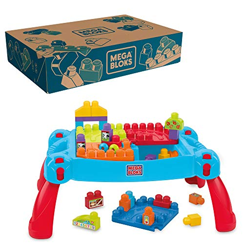Mega Bloks First Builders Build 'n Learn Table with Big Building Blocks, Building Toys for Toddlers (30 Pieces)