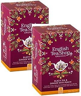 English Tea Shop Bio Ingwer Pfirsich Tee/Bio Schwarzer Tee mit würziger Ingwer und Pfirsichduft, preisgekrönte Tee-Kollektion aus Sri Lanka, 2 x 20 Beutel 80 Gramm