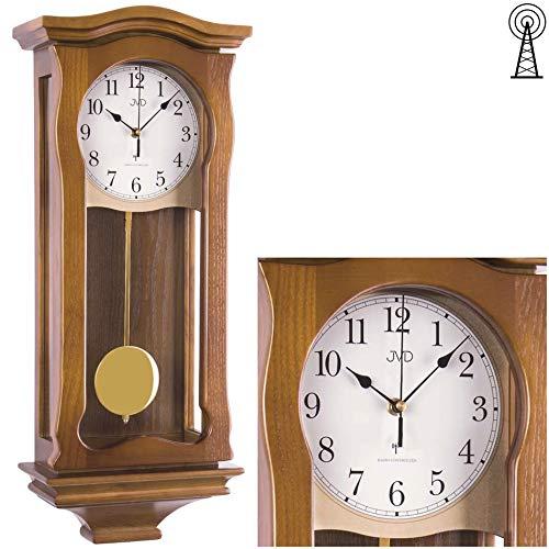 JVD Klassische Wanduhr mit Pendel Funk Uhr Eiche Westminster Regulateur Funkuhr