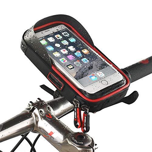 Bolso del teléfono de la bici, bolsa del manillar trasero de la bicicleta universal con el marco resistente al agua transparente caso Touchable 360 grados giratorio para bajo 6 inchs smartphone,Red