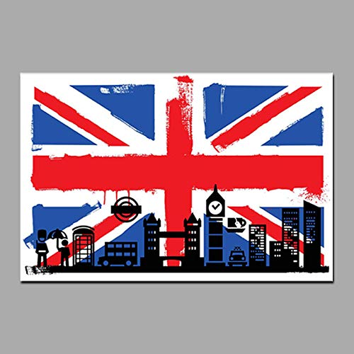 FA LEMON Abstrakte Londoner Flagge von Briten mit Big Ben Leinwand Gemälde Wandkunst Bild Wohnzimmer Dekor -60x80cmx1 STK. Kein Rahmen