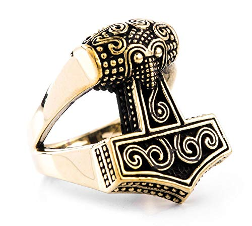 Windalf Vikings Statement Ring THYR 2 cm Nordischer Thorshammer-Ring Historischer Bronzeschmuck Wikinger Schmuck Bronze (Bronze, 56 (17.8))