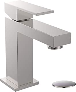 ALWEN Bathroom Sink Faucet Solid Brass with Pop Up Drain Assembly, 1 Hole Single Handle Basin Faucet Brushed Nickel