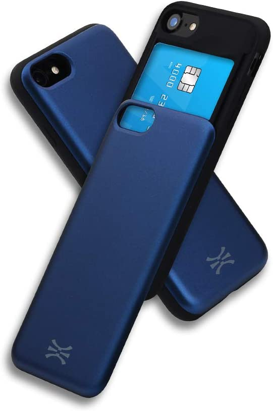 TORU CX Slide Compatible with iPhone SE 2020/iPhone 8/iPhone 7 Card Case - Protective TPU Bumper & Hard Cover Dual Layer Slim Hidden Card Holder Slot Wallet - Navy Blue