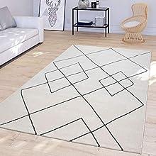 TT Home Alfombra Salón Moderna Diseño Rombos Escandinava Pelo Corto Resistente Blanco, Größe:160x230 cm