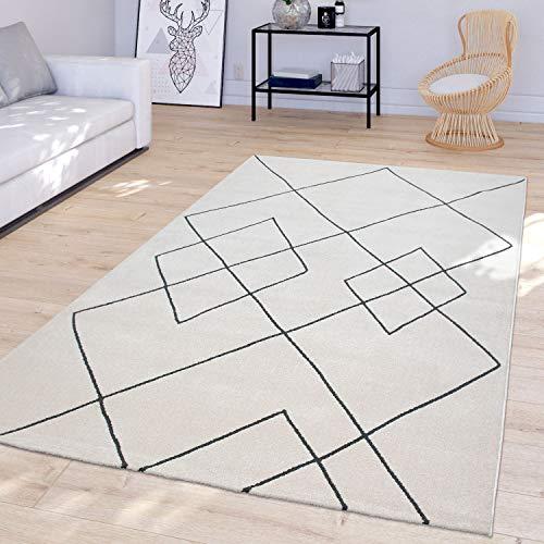 TT Home Salón Alfombra moderna diseño de rombos Skandi pelo corto resistente, color blanco, 160 x 230 cm