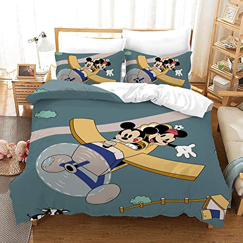 BFSOC Duvet Cover Set -Gray Mouse Flying A Plane - 3 Pieces Printed Bedding Quilt Cover with Zipper Closure Students for Bedding Decor, Ultra Soft Microfiber Comes with 2 Pillowcases 78.7 X 78.7 inch