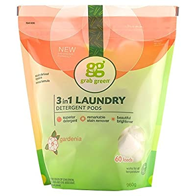 Grab Green Natural 3 in 1 Laundry Detergent Pods, Gardenia-With Essential Oils, 60 Loads, Organic Enzyme-Powered, Plant & Mineral-Based, 34 Ounce