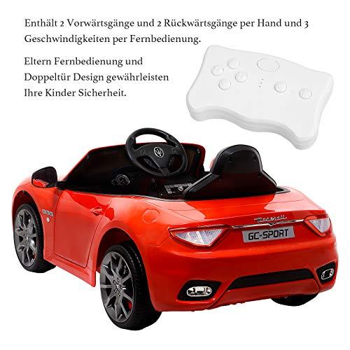 RC Auto kaufen Kinderauto Bild 6: UEnjoy 12V Kinderauto Maserati Grancabrio Elektronik Kinderauto Fahrt auf Auto mit Fernbedienung, Federung, MP3-Player, Beleuchtung, Blau*