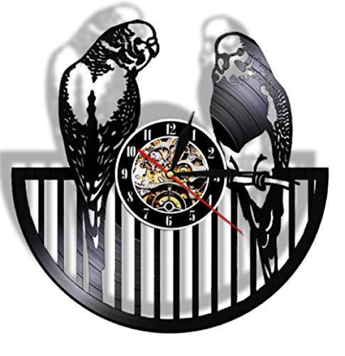 Bawangbieji Reloj De Pared De DiseñO Retro De 30 Cm De DiáMetro Record Clock Vinilo Reloj De Pared Estilo Antiguo Que Cuelga Reloj Decoración para El Hogar Loro pájaro-No LED