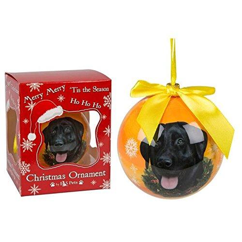 Palle di Natale realizzate a mano con immagine di cane (labrador nero)