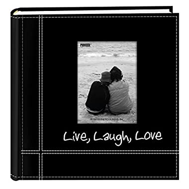 Pioneer Photo Albums Embroidered Live, Laugh, Love Black Sewn Leatherette Frame Cover Album for 4 x6  Prints