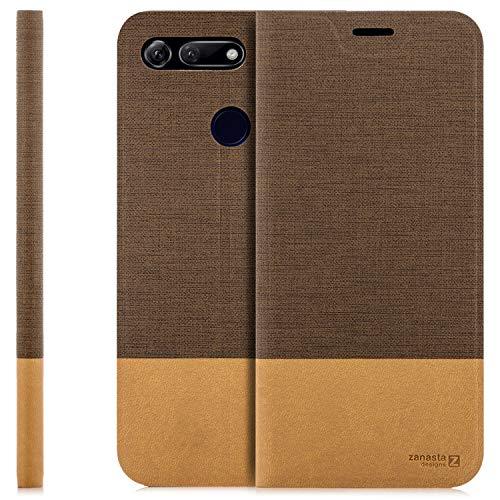 zanasta Tasche kompatibel mit Huawei Honor View 20 Hülle mit Kartenfach Flip Hülle Slim Schutzhülle Handytasche, Standfunktion | Hellbraun