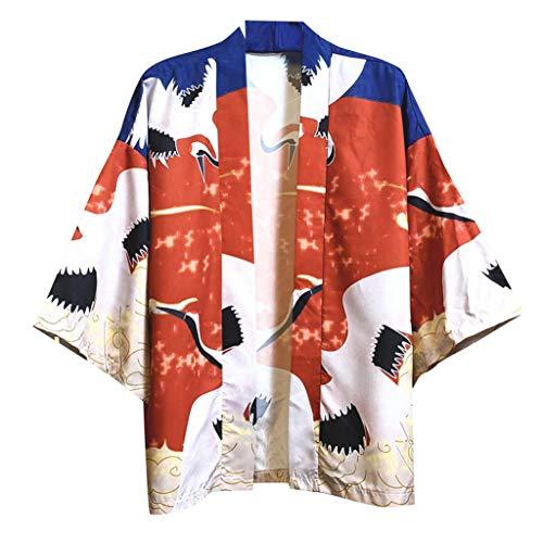 WGNNAA Herren Sommerjacke Mantel Mode Japanische Oberbekleidung mit 3D Ausdruck Übergangsjacke Mäntel Hanfu Langarmshirts Cardigan