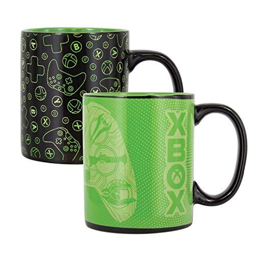 Microsoft Thermoeffekt Tasse XBox schwarz, bedruckt, aus Keramik, Fassungsvermögen ca. 320 ml., in Geschenkkarton.