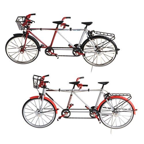 Sharplace 2 Pcs 1:10 Modello Diecast Tandem Bicicletta Miniature Casa Bambola Ornamento Tavolo