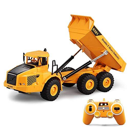1:18 Juguetes para niños Control Remoto 2.4GHz Coche de Descarga con luz y Sonido Regalo para niños Camión volquete RC
