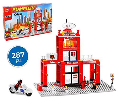 MEDIA WAVE store 37792 Playset mattoncini Caserma dei Pompieri 287 pz da assemblare