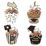 Tocwick 48 piezas de decoración de magdalenas de graduación para fiestas de graduación, palillos de dientes, decoración para tartas, postres y suministros de decoración