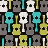 Michael Miller Groovy Gitarren Lagune Fabric by the Yard