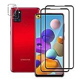 QULLOO Protector Pantalla para Samsung Galaxy A21s Cristal Templado [2.5d Borde Redondo] [9H Dureza] [Anti-Huella] Vidrio Templado para Samsung Galaxy A21s - (2 Piezas,Negr