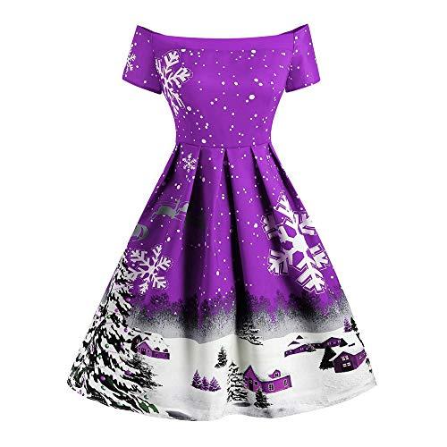 CHMORA Vestido de mujer, de Navidad, con estampado de copos de nieve, retro, con un solo hombro, manga corta y falda