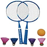 Meet U Ensemble de badminton portable en plein air pour enfants, bleu