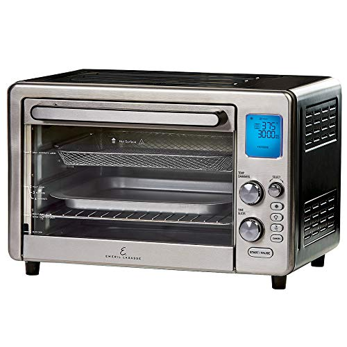 "Emeril Lagasse Power Air Fryer 360 Max XL Family Sized Better Than Convection Ovens Replaces a Hot Air Fryer Oven, Toaster Oven, Rotisserie, Bake, Broil, Slow Cook, Pizza, Dehydrator & More. Emeril Cookbook. Stainless Steel. (MAX 15.6"" 19.7"" x 13"")"