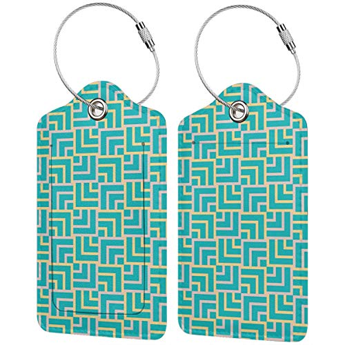 VORMOR Gepäckanhänger Kofferanhänger mit Adressschild,Türkis Art Deco quadratische Linien drucken,Kofferanhänger zur Identifizierung von Tasche, Koffer und Gepäck auf Reisen,(2 Stück)