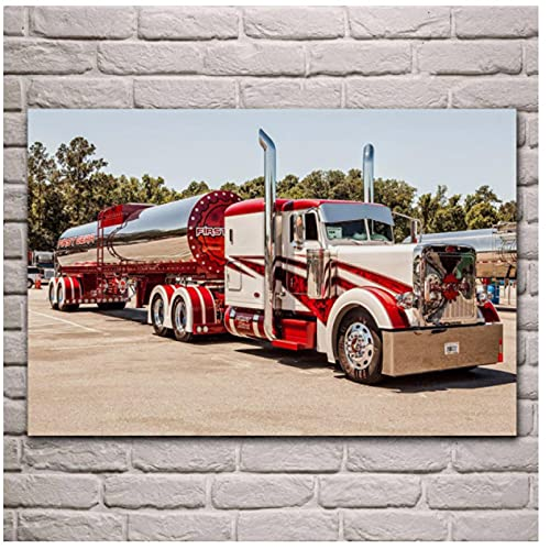 Camión Cisterna Rojo Fondos de Pantalla Hermosos Camiones Modernos Fondos de Pantalla Obra clásica Póster |Cuadro sobre Lienzo para Pared 60x80 cm sin Marco